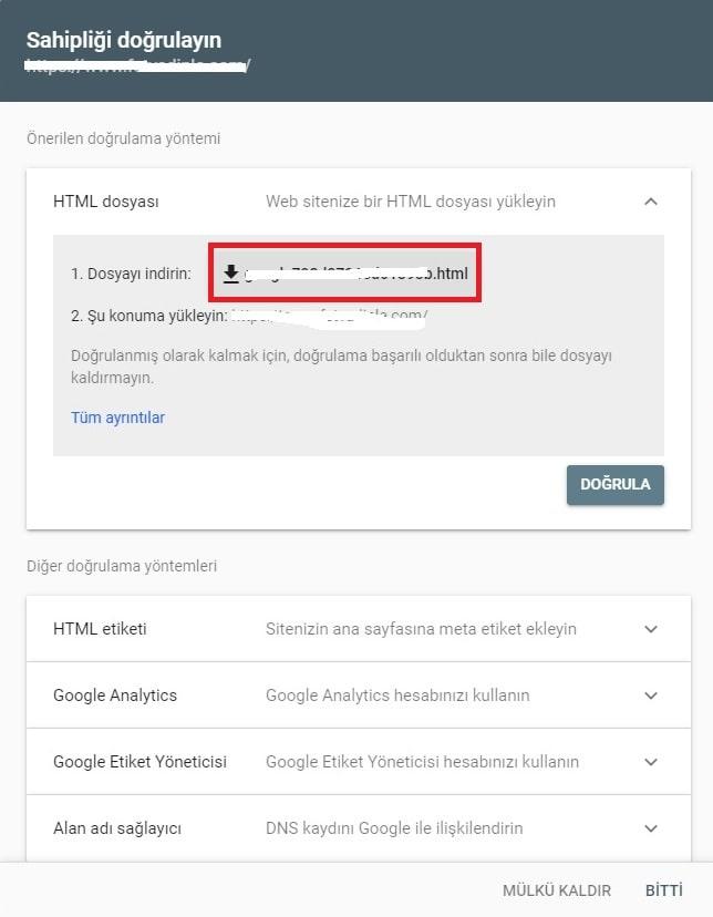 Google Search Console Site Onaylatma