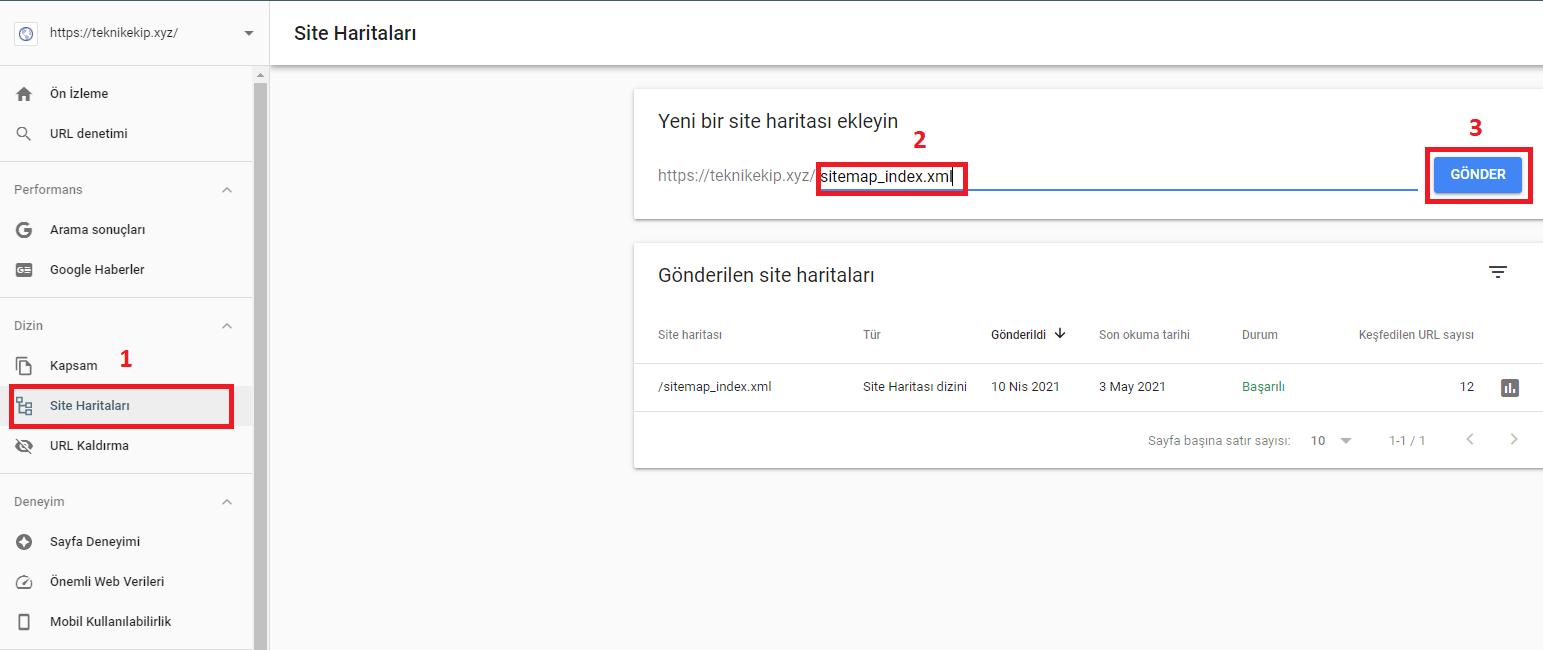 Google Webmaster Tools ile Sitemap Kaydı Oluşturma