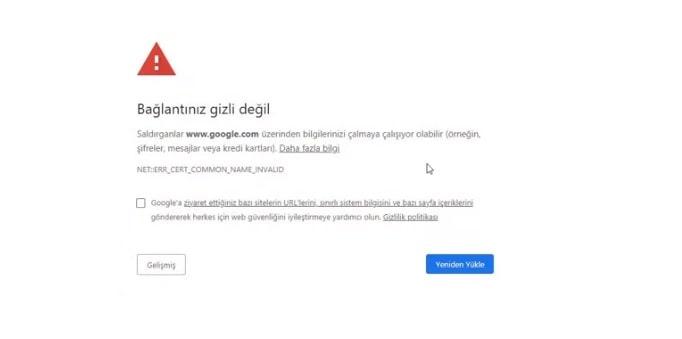 Google Chrome, Bağlantınız Gizli Değil Hatası, 100% Çözüm